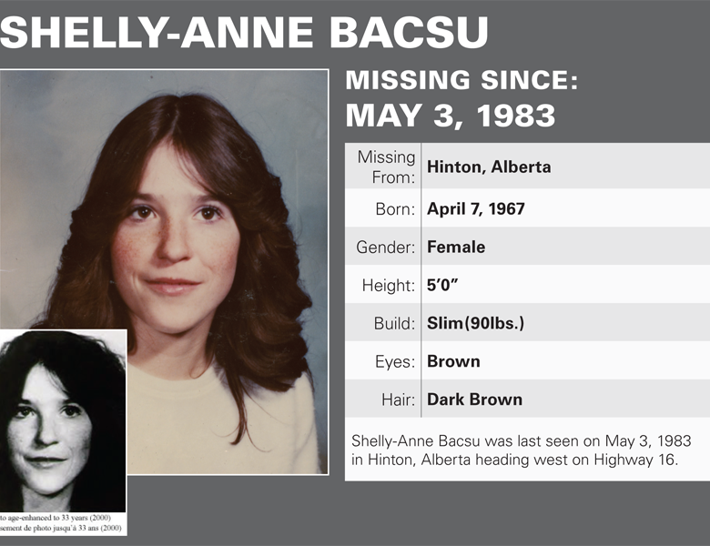 Search for Missing Person Shelly-Anne Bacsu